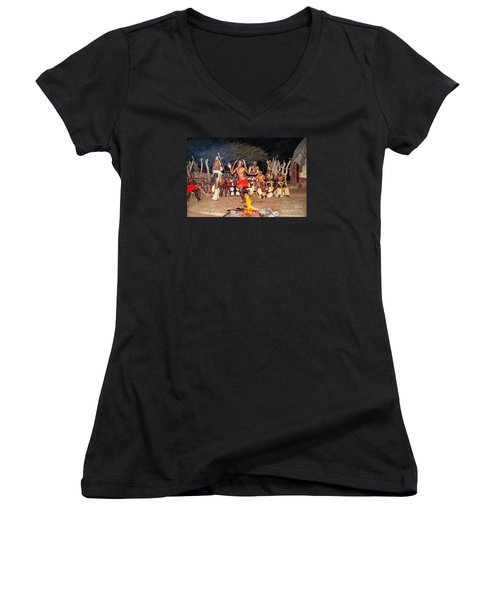 African Fire Dance Women's V-Neck T-Shirt