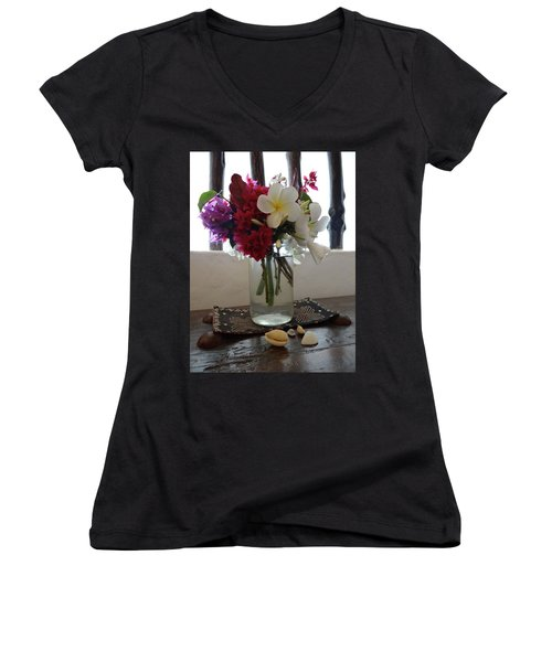 African Flowers And Shells Women's V-Neck (Athletic Fit)