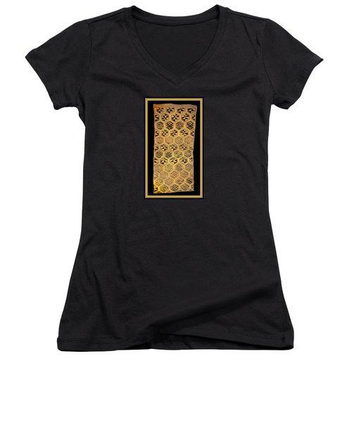Women's V-Neck T-Shirt featuring the digital art African Kuba Cloth Print by Vagabond Folk Art - Virginia Vivier