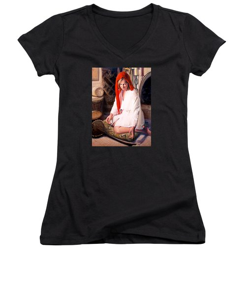 Women's V-Neck T-Shirt (Junior Cut) featuring the painting African Strings 4 by Donelli  DiMaria