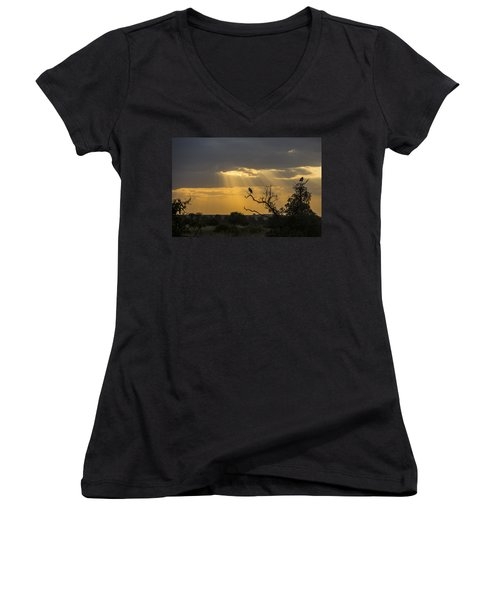 Women's V-Neck T-Shirt (Junior Cut) featuring the tapestry - textile African Sunset 2 by Kathy Adams Clark