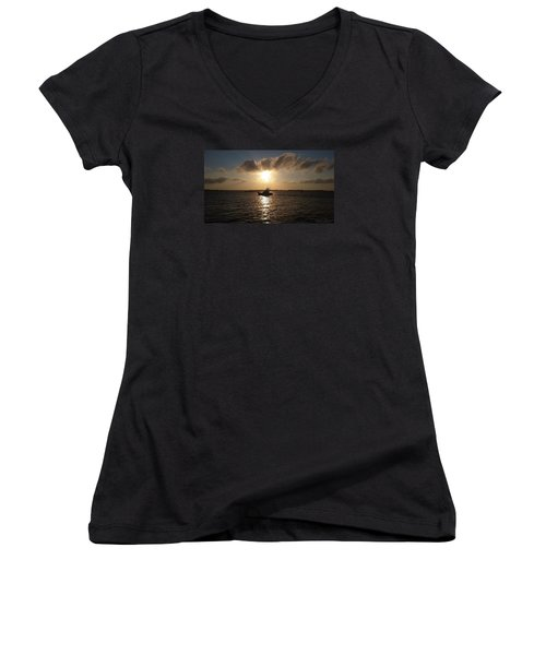 Women's V-Neck T-Shirt (Junior Cut) featuring the photograph After A Long Day Of Fishing by Robert Banach