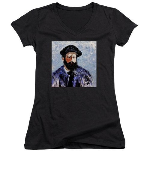 After Monet-self Portrait With A Beret  Women's V-Neck T-Shirt (Junior Cut) by Cristina Mihailescu