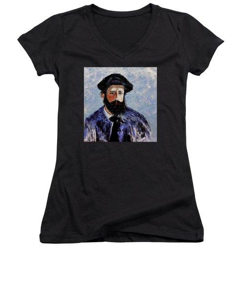 After Monet-self Portrait With A Beret  Women's V-Neck T-Shirt