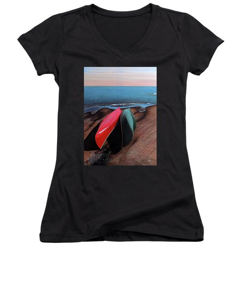 Women's V-Neck T-Shirt (Junior Cut) featuring the painting After The Crossing by Kenneth M Kirsch