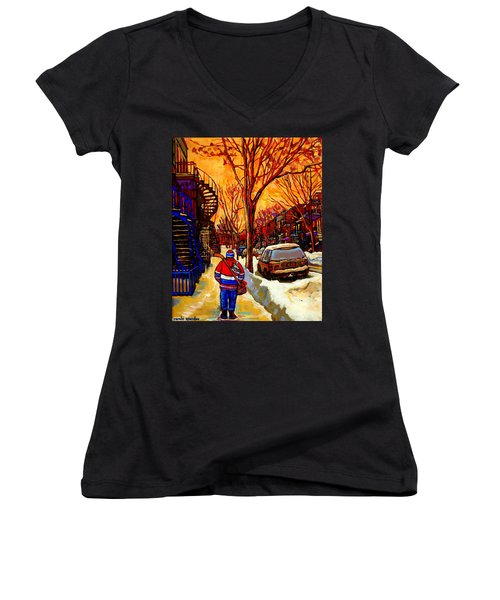 After The Hockey Game A Winter Walk At Sundown Montreal City Scene Painting  By Carole Spandau Women's V-Neck