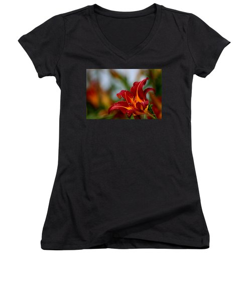 Women's V-Neck T-Shirt (Junior Cut) featuring the photograph After The Rain Came The Flowers  by Paul SEQUENCE Ferguson             sequence dot net