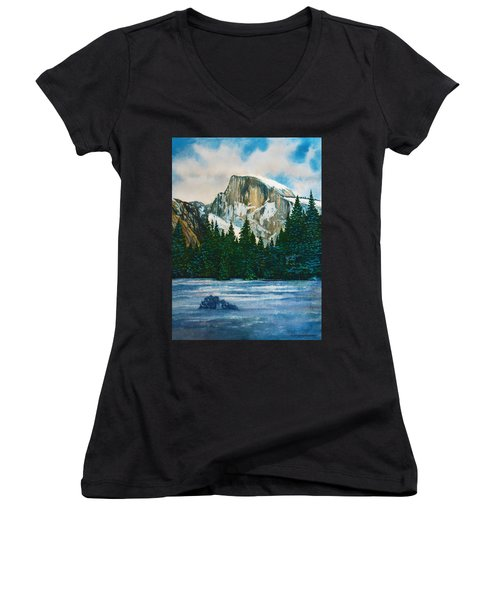 After The Snowfall, Yosemite Women's V-Neck T-Shirt (Junior Cut) by Douglas Castleman