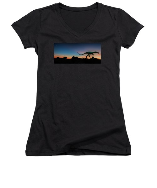 Afterglow Dinosaur Women's V-Neck T-Shirt (Junior Cut) by Gary Warnimont