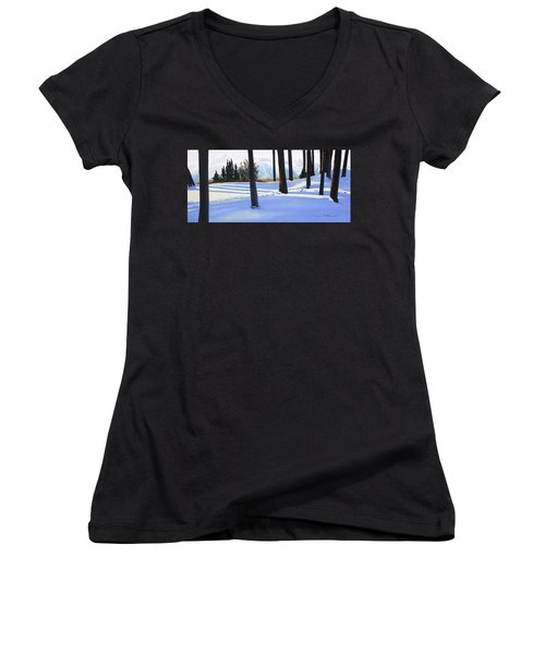 Afternoon In Snowy Mountains Women's V-Neck