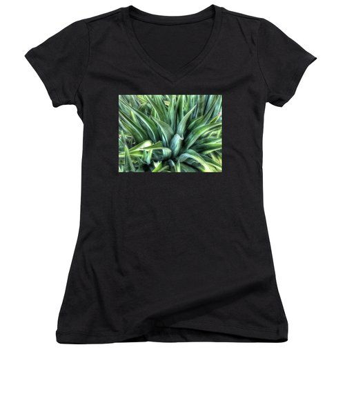 Women's V-Neck T-Shirt featuring the photograph Agave by Lynn Geoffroy