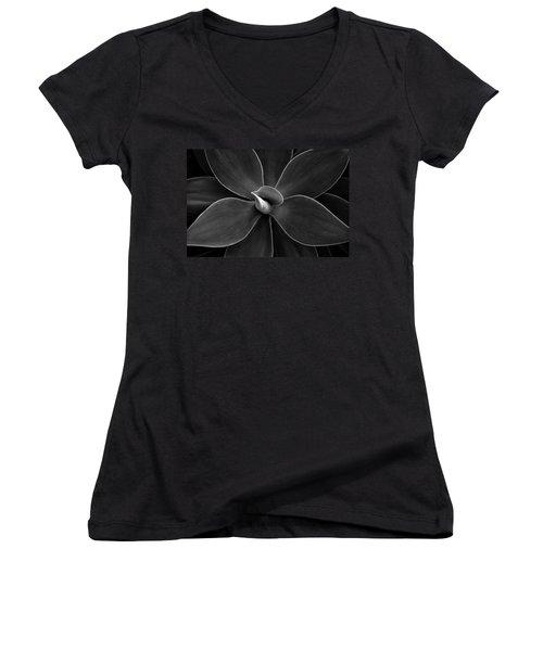 Agave Leaves Detail Women's V-Neck T-Shirt (Junior Cut) by Marilyn Hunt