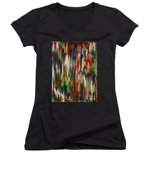 Women's V-Neck T-Shirt (Junior Cut) featuring the painting Agony by Jacqueline Athmann