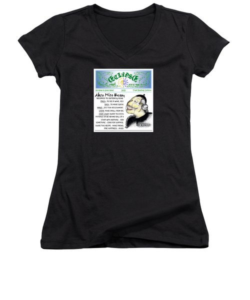 Real Fake News Recipe Column 1 Women's V-Neck T-Shirt (Junior Cut) by Dawn Sperry