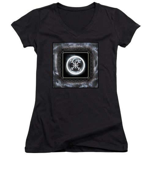 Women's V-Neck (Athletic Fit) featuring the digital art Air Emblem Sigil by Shawn Dall