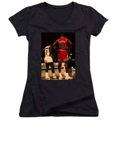 Air Jordan And Muggsy Bogues Women's V-Neck (Athletic Fit)