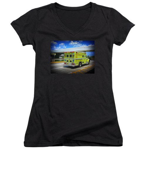 Airport Ambulance Women's V-Neck T-Shirt (Junior Cut) by RKAB Works