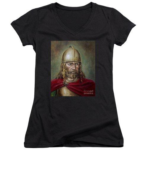Alaric The Visigoth Women's V-Neck T-Shirt (Junior Cut) by Arturas Slapsys