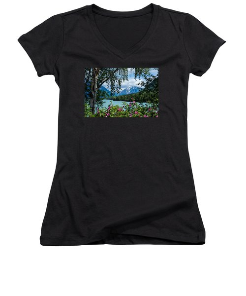 Alaska Through The Trees Women's V-Neck (Athletic Fit)
