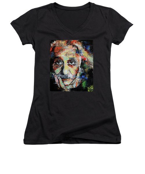 Albert Einstein Women's V-Neck T-Shirt (Junior Cut) by Richard Day