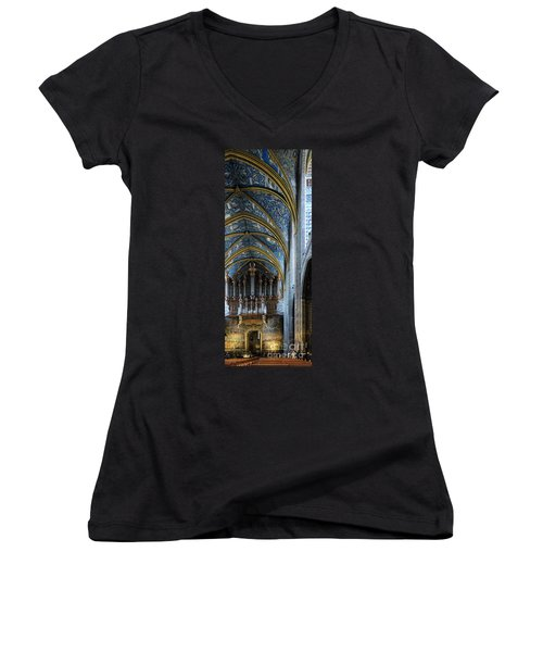 Albi Cathedral Nave Women's V-Neck T-Shirt (Junior Cut) by RicardMN Photography
