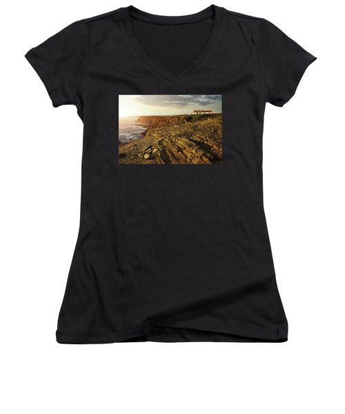 Women's V-Neck T-Shirt (Junior Cut) featuring the photograph Alentejo Cliffs by Carlos Caetano