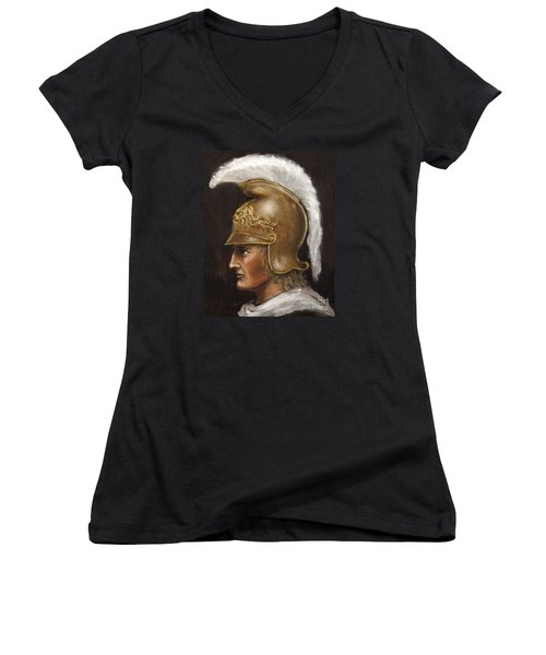 Women's V-Neck T-Shirt (Junior Cut) featuring the painting Alexander The Great by Arturas Slapsys