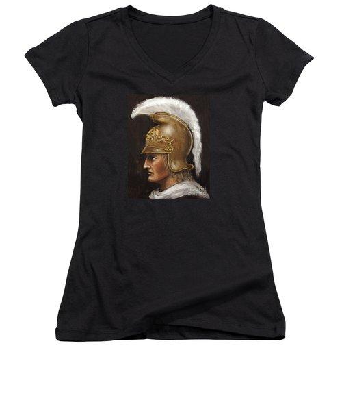 Alexander The Great Women's V-Neck T-Shirt (Junior Cut) by Arturas Slapsys