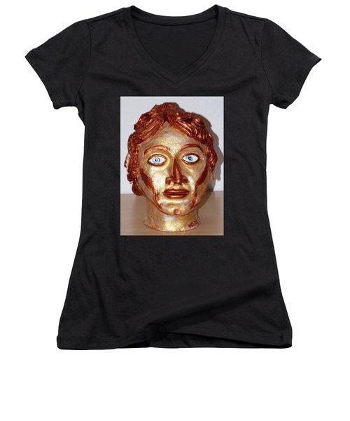 Alexander The Great Women's V-Neck T-Shirt (Junior Cut) by Valerie Ornstein