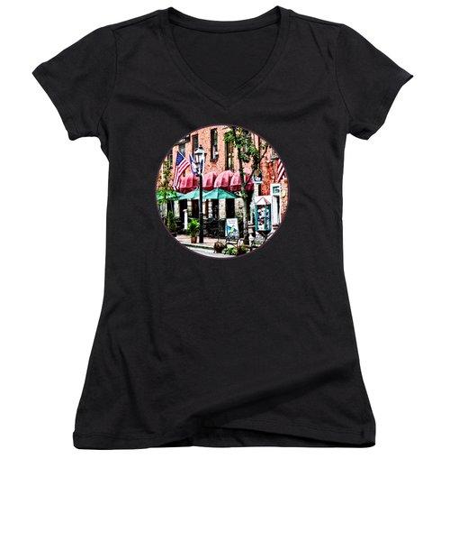 Alexandria Street With Cafe Women's V-Neck T-Shirt (Junior Cut) by Susan Savad