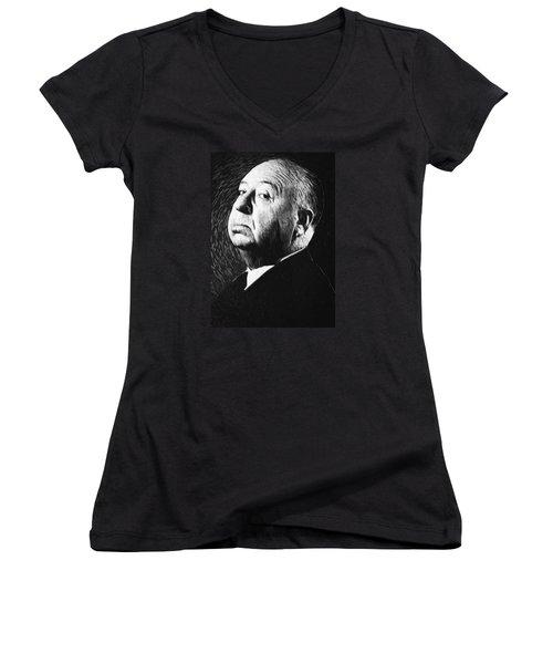 Alfred Hitchcock Women's V-Neck T-Shirt (Junior Cut) by Taylan Apukovska