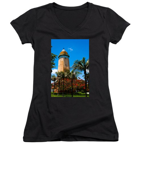 Alhambra Water Tower Women's V-Neck (Athletic Fit)