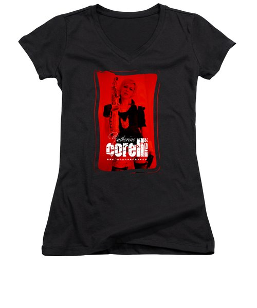 Alice Sax Red Women's V-Neck (Athletic Fit)