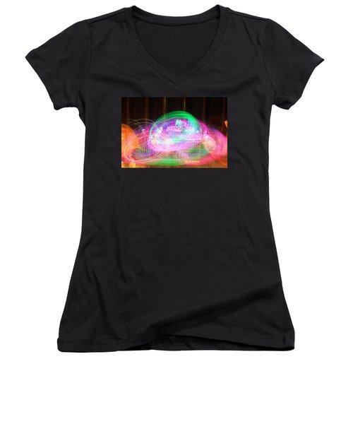 Alien Abduction Women's V-Neck T-Shirt (Junior Cut) by Todd Breitling