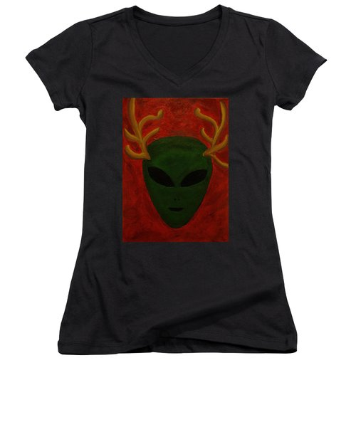 Women's V-Neck T-Shirt (Junior Cut) featuring the painting Alien Deer by Lola Connelly