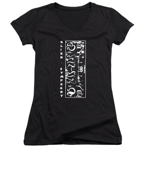 Alien Symphony T Shirt Women's V-Neck T-Shirt (Junior Cut) by Robert G Kernodle