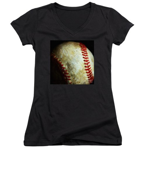 All American Pastime - Baseball - Square - Painterly Women's V-Neck