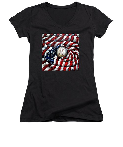 All American Women's V-Neck T-Shirt (Junior Cut) by Shana Rowe Jackson