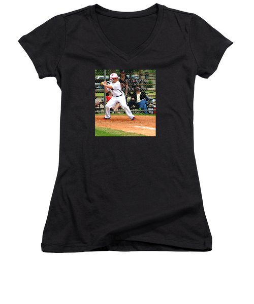 Women's V-Neck T-Shirt (Junior Cut) featuring the photograph All It Takes by Linda Cox
