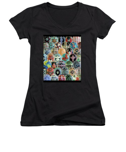 All Ostrich Eggs Collage Women's V-Neck