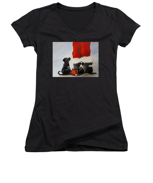 All The Fur Kids Love Santa Women's V-Neck T-Shirt