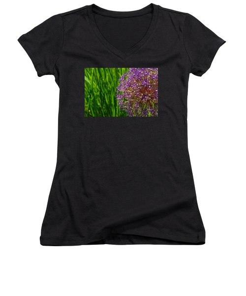 Allium Explosion Women's V-Neck T-Shirt (Junior Cut) by Tim Good