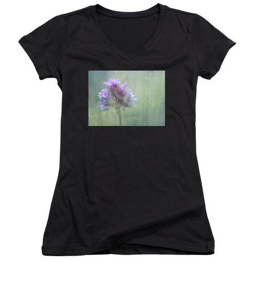 Allium Impressionism Women's V-Neck T-Shirt (Junior Cut) by Catherine Alfidi