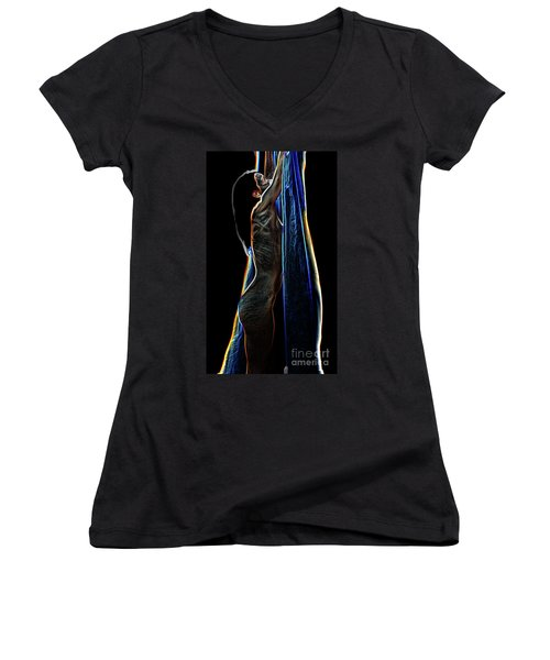 Women's V-Neck T-Shirt (Junior Cut) featuring the painting Allure Ll by Tbone Oliver