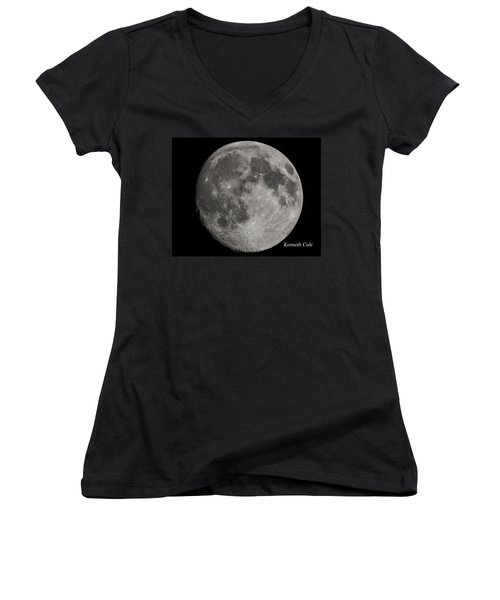 Almost Full Moon Women's V-Neck T-Shirt (Junior Cut) by Kenneth Cole