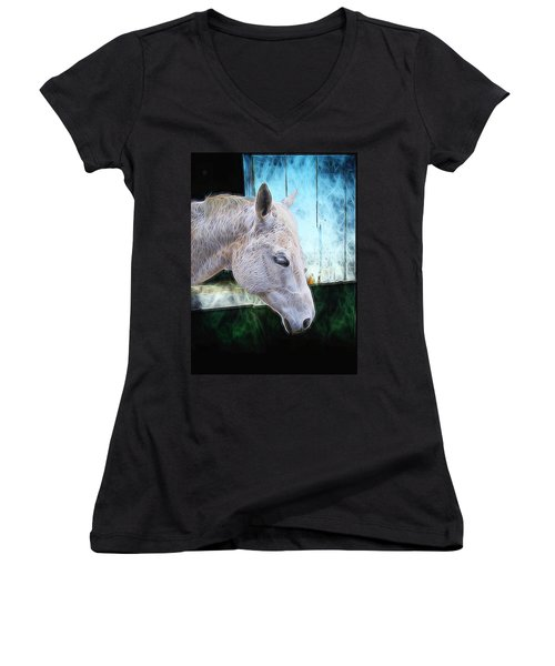 Women's V-Neck T-Shirt (Junior Cut) featuring the mixed media Alone  by Aaron Berg