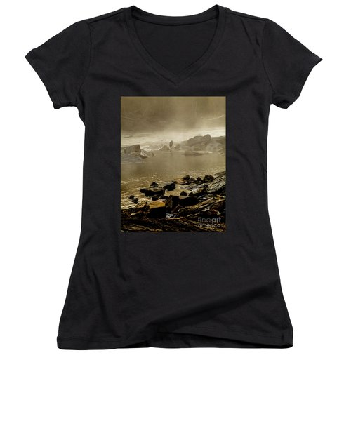 Women's V-Neck T-Shirt (Junior Cut) featuring the photograph Alone In The Mist by Iris Greenwell
