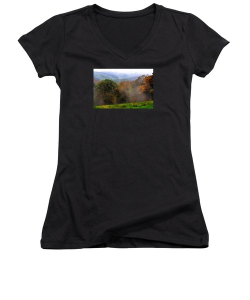 Women's V-Neck T-Shirt (Junior Cut) featuring the photograph Along The Brp by Joan Bertucci