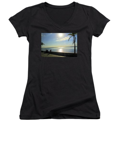 Along The Malecon In Cienfuegos, Cuba Women's V-Neck (Athletic Fit)