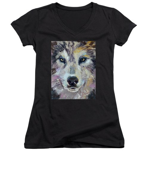 Women's V-Neck T-Shirt (Junior Cut) featuring the pastel Alpha by Pattie Wall